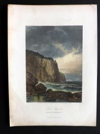 Picturesque America 1873 Hand Col Print. Lake Superior, Entrance to Baptism Bay